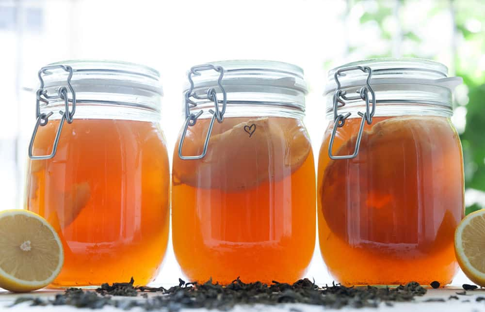 kombucha in glass jars