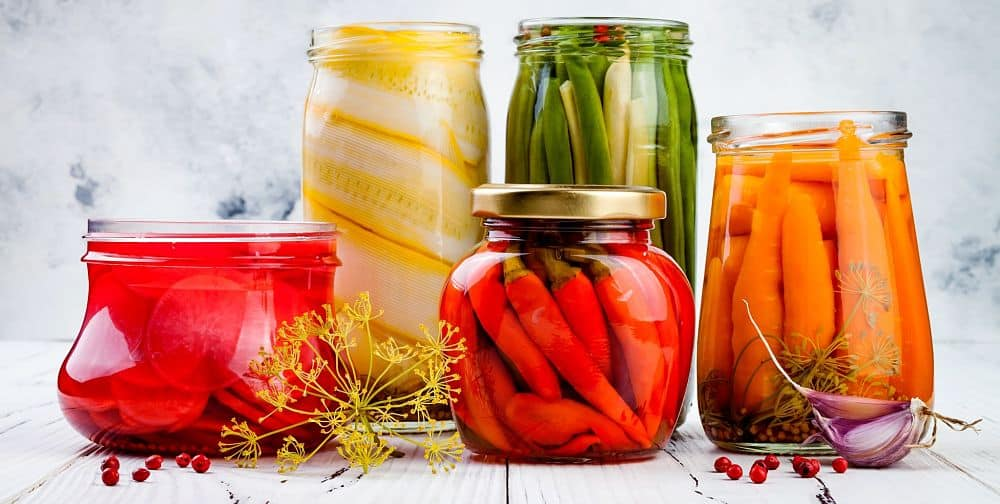 fermented food in jars