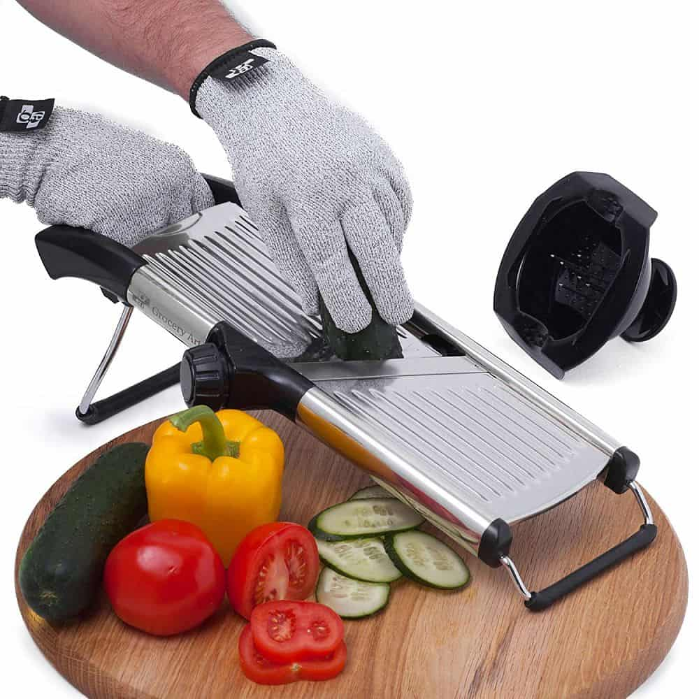 Vegetable Slicer with Cut Resistant Gloves and Blade Guard by  Mandoline