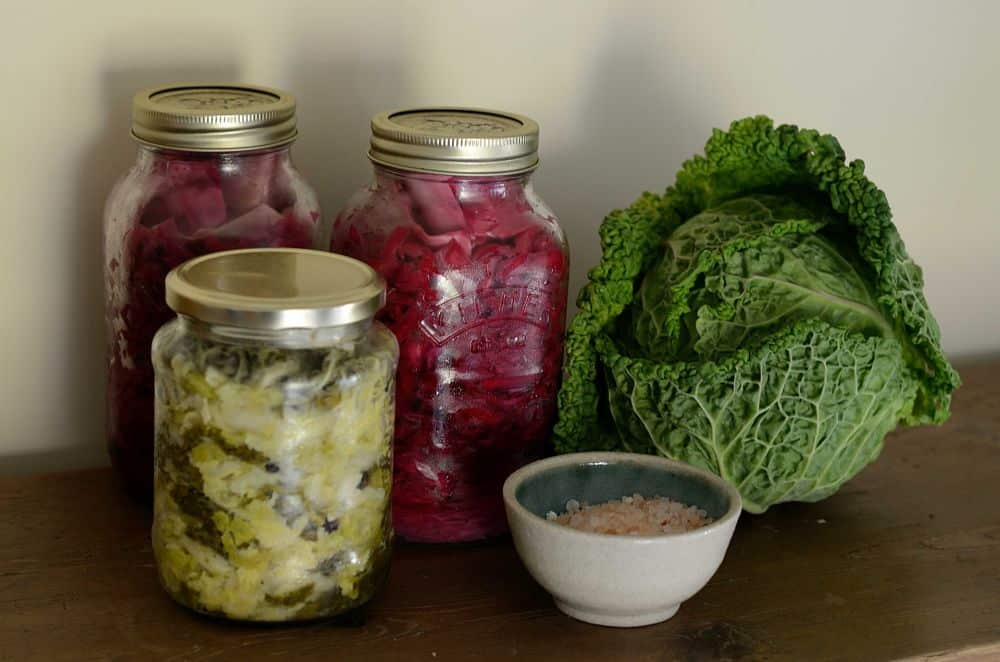 homemade sauerkraut in glass jars