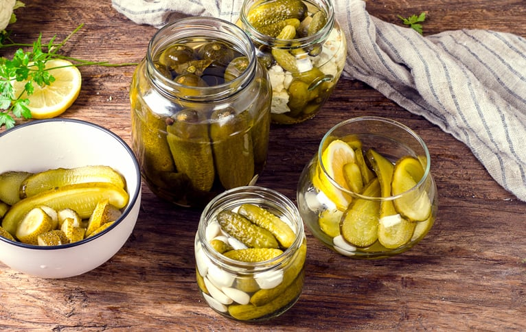 Marinated cucumbers gherkins