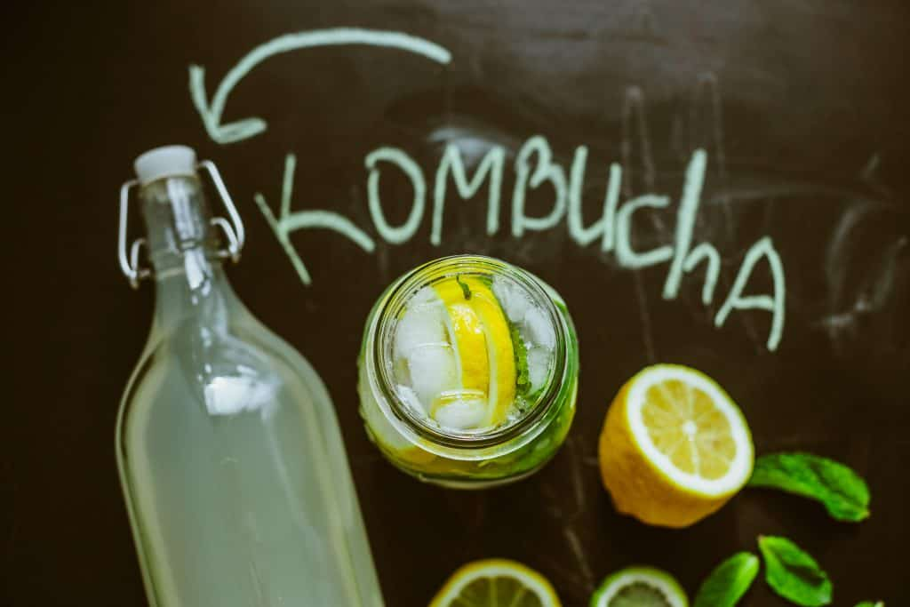 lemon flavored kombucha in a bottle
