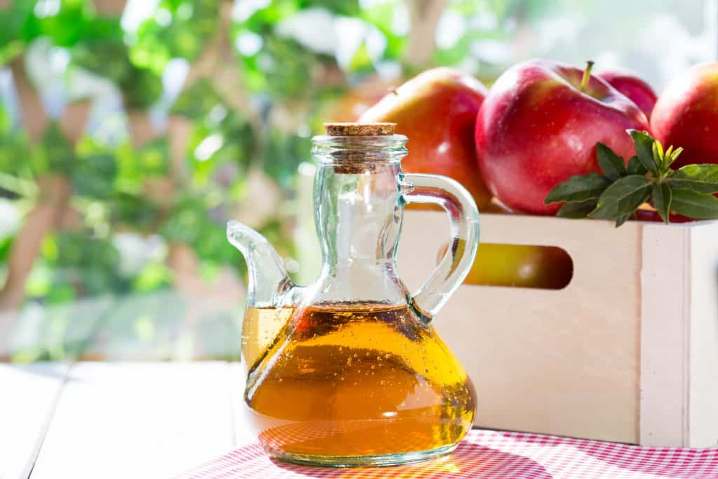 Apple cider vinegar with a fresh apples