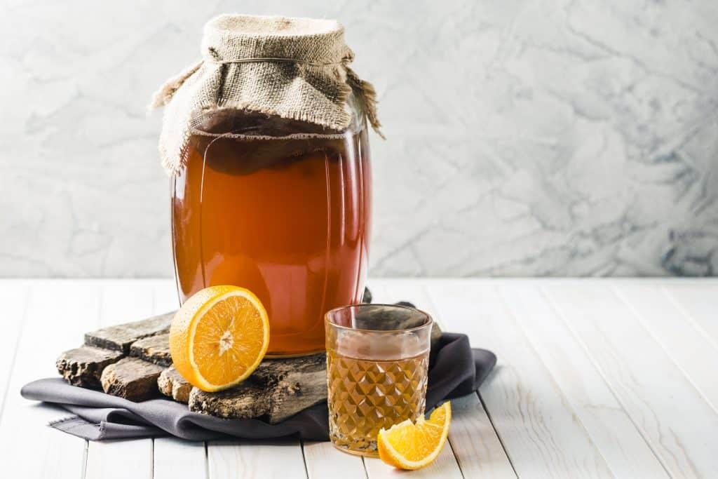 Kombucha Tea in glass and jar