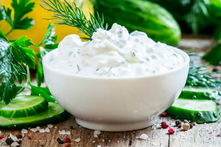 Greek yogurt sauce, cucumber and herbs