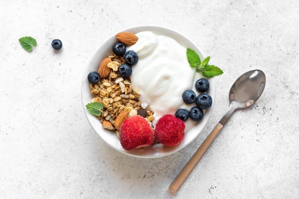 Granola with yogurt and berries