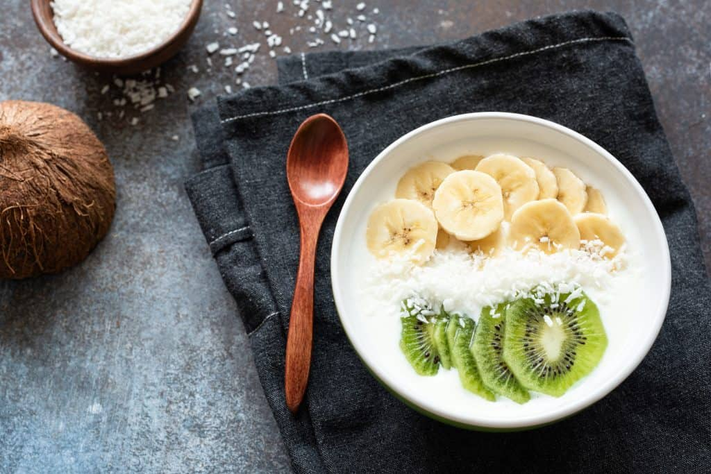 Yogurt with banana and kiwi fruit