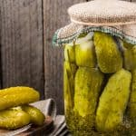 dill pickles in a jar