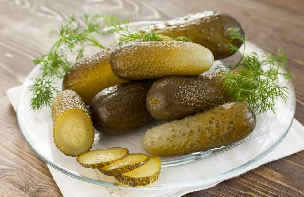 dill pickles on a plate